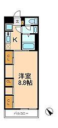 千葉県松戸市八ケ崎8丁目の賃貸マンションの間取り