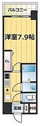 JR大阪環状線 森ノ宮駅 徒歩7分の賃貸マンション 12階1Kの間取り