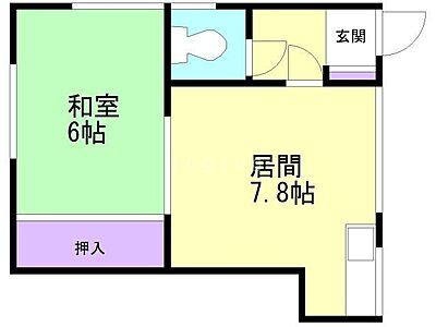 間取り,1DK,面積30.23m2,賃料2.5万円,バス くしろバス陸運支局下車 徒歩10分,,北海道釧路市鳥取南5丁目