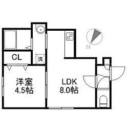 北海道札幌市中央区北五条西18丁目の賃貸アパートの間取り
