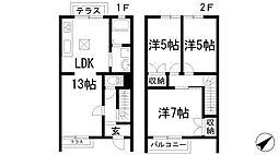 [テラスハウス] 兵庫県川西市小戸2丁目 の賃貸【/】の間取り