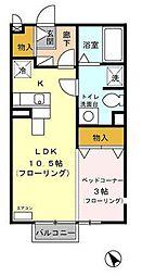 静岡県富士市依田橋の賃貸アパートの間取り