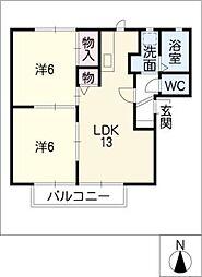アンソレイエ C棟[2階]の間取り