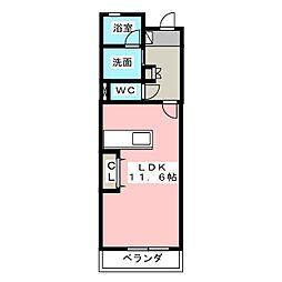 ル・リオン椿 3階ワンルームの間取り
