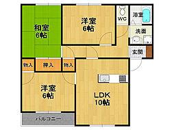 兵庫県伊丹市大鹿5丁目の賃貸アパートの間取り