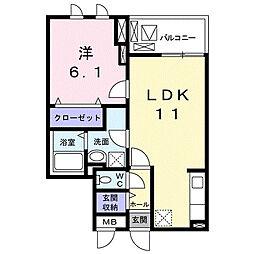 K'sコート奈良ウエスト 2階1LDKの間取り