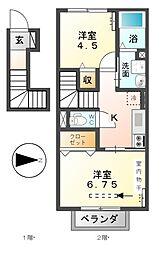 愛知県あま市篠田乙柳の賃貸アパートの間取り
