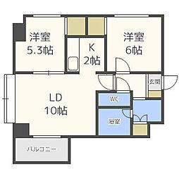 北海道札幌市東区北二十一条東2丁目の賃貸マンションの間取り