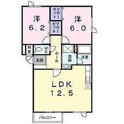 北海道苫小牧市しらかば町3丁目の賃貸アパートの間取り