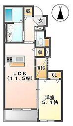 兵庫県三木市平田1丁目の賃貸アパートの間取り