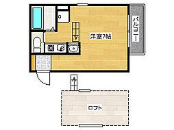 阪神本線 魚崎駅 徒歩7分の賃貸アパート 2階ワンルームの間取り