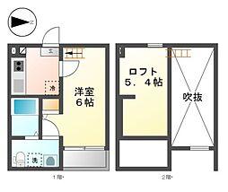 愛知県名古屋市西区稲生町3丁目の賃貸アパートの間取り