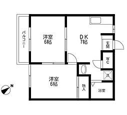 千葉県市川市伊勢宿の賃貸アパートの間取り