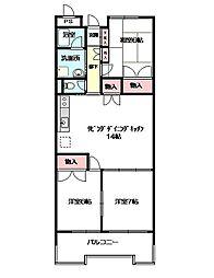 ロイヤルメゾンMAY[4階]の間取り