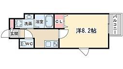 ディクス梅田東レジデンス 6階ワンルームの間取り
