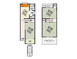 南海線 泉大津駅 徒歩20分の賃貸一戸建て 1階3DKの間取り