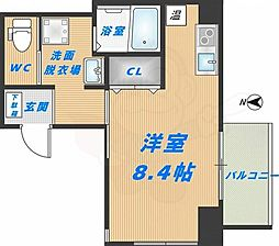 みおつくし高井田 3階ワンルームの間取り