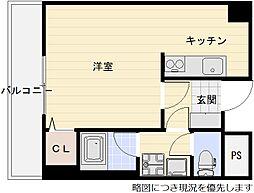 阪急京都本線 上新庄駅 徒歩13分の賃貸マンション 3階ワンルームの間取り