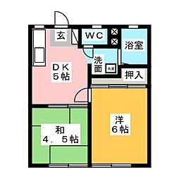 三宝ハイツA[1階]の間取り