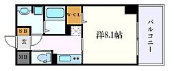 名古屋市営東山線 亀島駅 徒歩5分の賃貸マンション 6階1Kの間取り