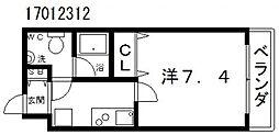 リアーレ北田辺[3階]の間取り