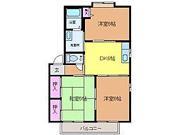 愛媛県松山市溝辺町の賃貸アパートの間取り