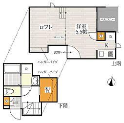 埼玉新都市交通 今羽駅 徒歩6分の賃貸アパート 1階1Kの間取り