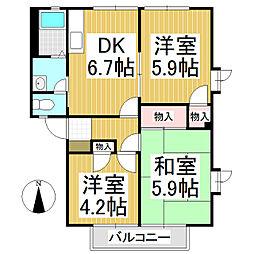 フレグランス林檎[2階]の間取り