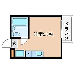 近鉄大阪線 桜井駅 徒歩8分の賃貸マンション 2階ワンルームの間取り
