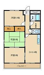 兵庫県姫路市飾磨区今在家5丁目の賃貸マンションの間取り