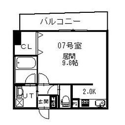札幌市営東西線 西11丁目駅 徒歩5分の賃貸マンション 8階1Kの間取り