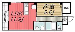 JR総武本線 都賀駅 徒歩6分の賃貸マンション 3階1LDKの間取り