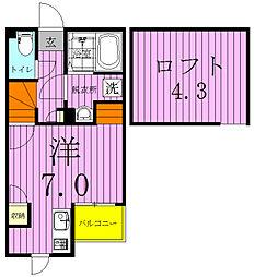 埼玉県八潮市大瀬4の賃貸アパートの間取り