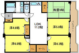 シェモア平野[15階]の間取り