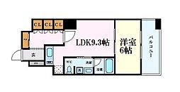 リーガル四ツ橋立売堀II 4階1LDKの間取り
