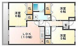 ビサイド大蔵谷[2階]の間取り