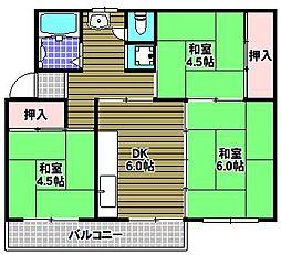 公団狭山住宅38号棟[3階]の間取り