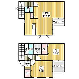愛知県名古屋市中川区下之一色町字松蔭の賃貸アパートの間取り