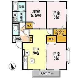 神奈川県座間市南栗原5丁目の賃貸アパートの間取り