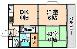 兵庫県伊丹市瑞穂町6丁目の賃貸アパートの間取り
