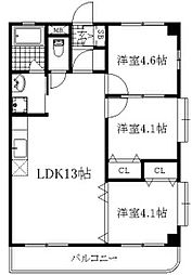愛知県岡崎市中島町の賃貸マンションの間取り
