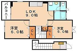 グリュック笹山 参番館[2階]の間取り