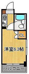 黒崎スカイマンション 4階ワンルームの間取り