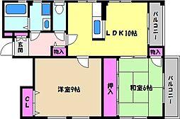 兵庫県芦屋市平田町の賃貸アパートの間取り