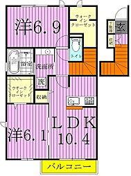 千葉県野田市上花輪新町の賃貸アパートの間取り