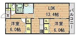 エステート東花園 2階2LDKの間取り