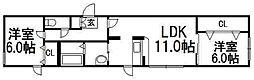 レユシール山鼻南[3階]の間取り