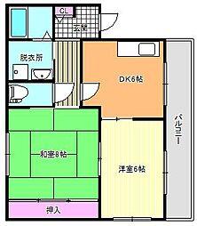 パークハイツ駒川中野[2階]の間取り