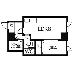 札幌市営東西線 バスセンター前駅 徒歩5分の賃貸マンション 2階1LDKの間取り