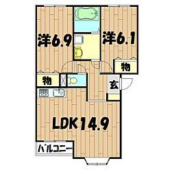 ガーデンハイツ(和泉町)[102号室]の間取り